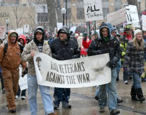 Members of Iraq Veterans Against War march in solidarity with Wisconsin workers
