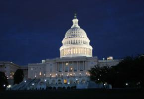 The U.S. Capitol building at night