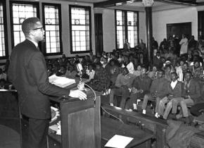 Malcolm X speaking to an audience of young civil rights activists in Selma, Ala.