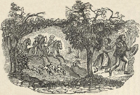 An engraving of slave catchers chasing Henry Bibb, an escaped slave