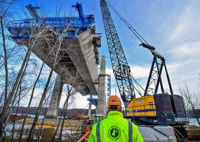 A highway bridge under construction in Minnesota