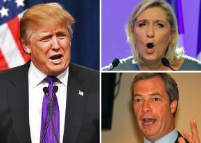 Clockwise from left: Donald Trump, Marine Le Pen and Nigel Farage
