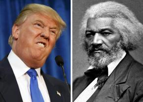 Donald Trump (left) and Frederick Douglass