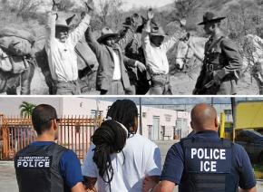 Above: Border Patrol agent arrests migrants in the 1930s; below: ICE detains another victim