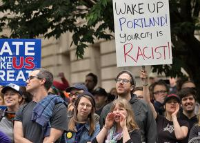 Anti-racists mobilize against the far right in Portland, Oregon