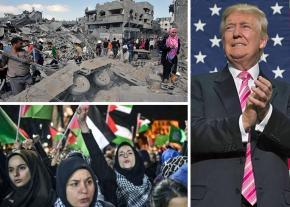 Clockwise from top left: Destruction in Yemen; Donald Trump; protesting in Palestine