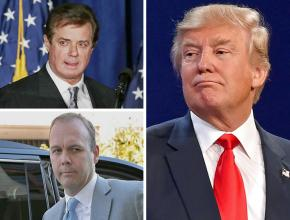 Clockwise from top left: Paul Manafort, Donald Trump and Rick Gates