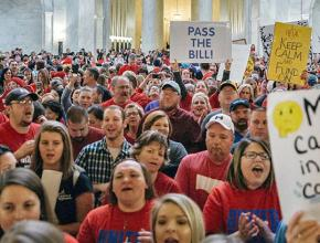 West Virginia teachers crowd into the State Capitol rotunda