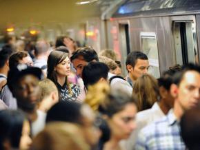 The morning commute on New York City public transit