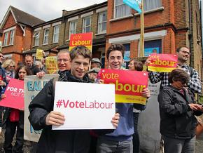 Labour Party supporters rally in the lead-up to local elections