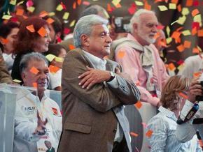 Andrés Manuel López Obrador (center) celebrates victory