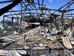 Destruction in the aftermath of a Saudi air strike in Yemen