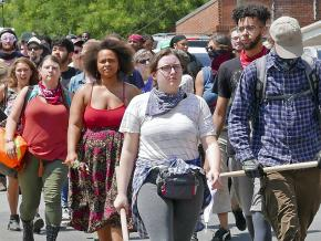 Anti-racist demonstrators take a stand in Charlottesville