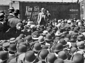 Eugene V. Debs speaks during his 1912 presidential campaign