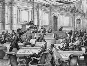 An illustration depicting a speech by Reconstruction-era lawmaker Robert B. Elliott in South Carolina
