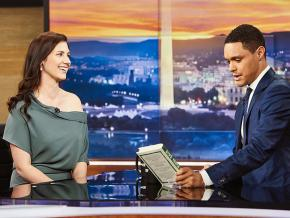 Author Annie Lowrey (left) discusses her book on The Daily Show with Trevor Noah