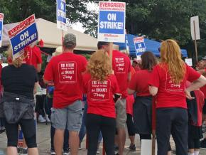 Teachers on the picket line at Shahala Middle School in Vancouver, Washington