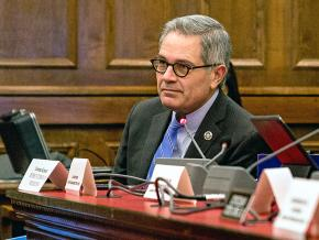 Philadelphia District Attorney Larry Krasner attends a City Council committee meeting