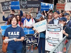 Yale alumni protest Brett Kavanaugh's Supreme court nomination outside the Yale Club