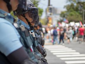 Police deployed at a student demonstration in Puerto Rico