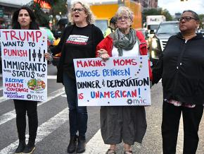 Activists protest Trump's new welfare restrictions for immigrants in New York City