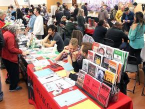 Browsing radical literature at the 2017 Howard Zinn Book Fair in San Francisco