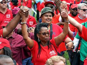Union members rally in Washington, D.C., against Trump's attacks on labor