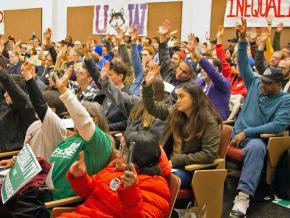 University of Washington workers rally in support of a planned strike