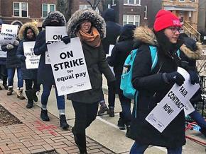 Acero charter school educators walk the picket line in Chicago