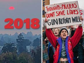 SW's year-end review, left to right: A California afternoon during the wildfires; students rally for gun reform