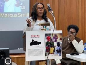 Marcus Deon Smith's sister Kim Suber (center) and father George Smith demand justice