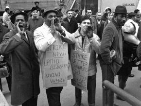 Postal workers on the picket line in 1970 during the largest wildcat strike in U.S. history