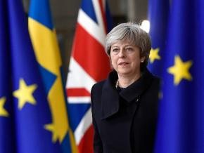 British Prime Minister Theresa May attends a negotiating meeting on Brexit