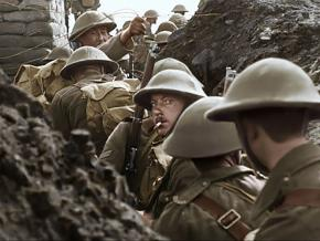 A scene of soldiers in the trenches from Peter Jackson's They Shall Not Grow Old