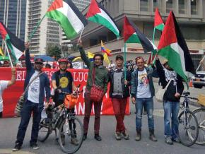 Academic workers march for Palestinian rights in Bogotá, Colombia