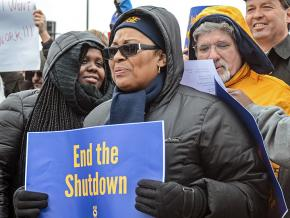 Federal workers protest against Trump's government shutdown