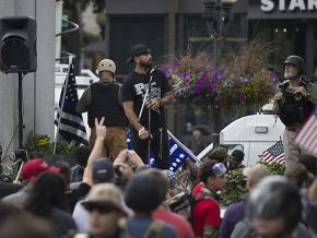 Patriot Prayer founder Joey Gibson rallies supporters in Portland, Oregon