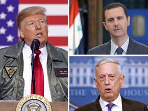 Clockwise from left: Donald Trump, Bashar al-Assad and James Mattis