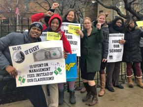 Teachers and students rally at Chicago International Charter Schools