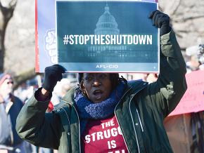 Federal workers rally against the shutdown in Washington, D.C.